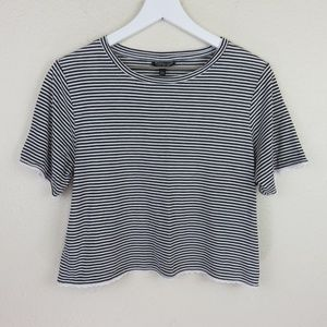 Topshop Striped Lace Trimmed Crop Top